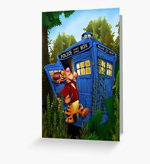 Doctor Tiger with Blue Phone Box Greeting Card