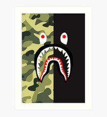 Bape Shark Pattern Merchandise Art Print