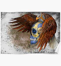 indian native eagle sugar Skull Poster