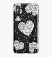 hearts in black and white iPhone Case/Skin
