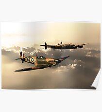 BBMF Spitfire and Lancaster Poster