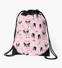 Boston Terrier valentines day cute dog gifts pure breed rescue dogs must haves Drawstring Bag