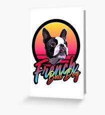 French Bull Dog 80s Retro Greeting Card