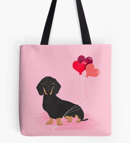 Dachshund valentines day gifts heart balloons dog breed must haves dachsie doxie  Tote Bag