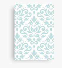Scroll Damask Lg Pattern Duck Egg Blue on Wt Canvas Print