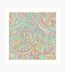 Pattern of colored strips of smooth, fairy rainbow pastel colors. Art Print