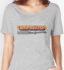 Campbellton, New Brunswick | Retro Stripes Women's Relaxed Fit T-Shirt