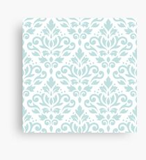 Scroll Damask Pattern Duck Egg Blue on Wt Canvas Print