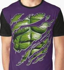 Green muscle chest in purple ripped torn tee Graphic T-Shirt