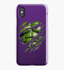 Green muscle chest in purple ripped torn tee iPhone Case