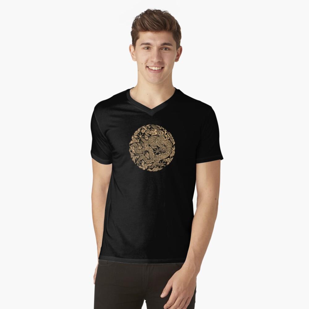 Golddrachen shenlong T-Shirt mit V-Ausschnitt