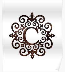 Monogram C Rustic Gothic Motif Poster