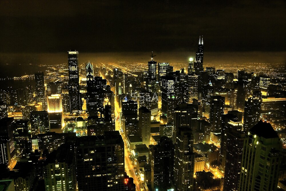 Chicago at Night by SSaA