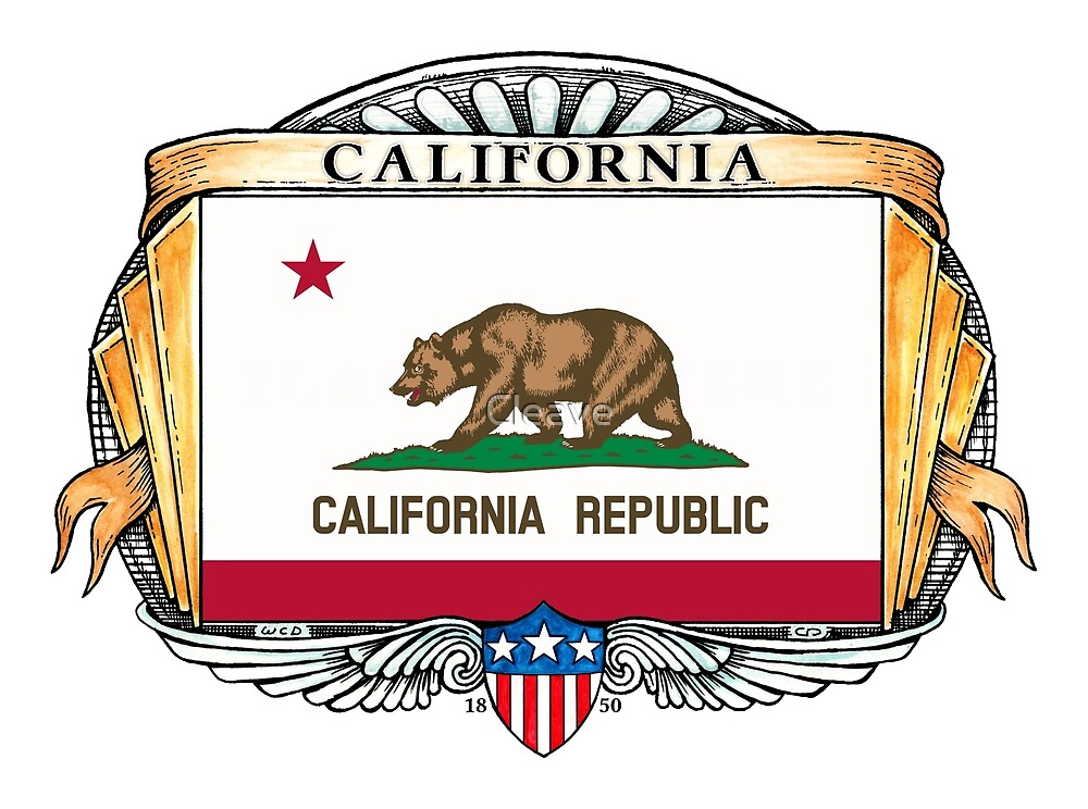 California Art Deco Design with Flag by Cleave
