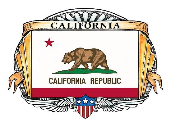 California Art Deco Design with Flag