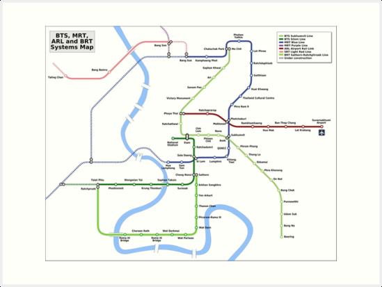 Bangkok MRT BTS Map - Thailand\