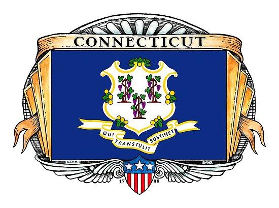 Connecticut Art Deco Design with Flag