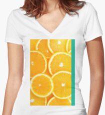 Orange Women's Fitted V-Neck T-Shirt