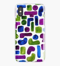 Blue Green Purple Circle Rectangle Tetris Pattern iPhone Case/Skin