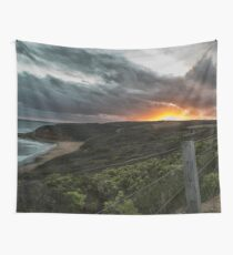 Bright Sunset and Landscape Wall Tapestry