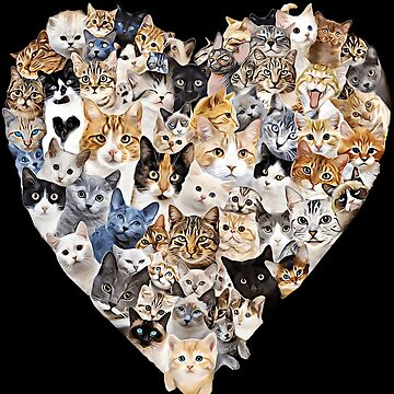 Kitties Galore Cat Heart Collage Love Funny by TrendyTees12