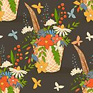 Basket with a bouquet of flowers, seamless background by Elsbet