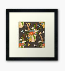 Basket with a bouquet of flowers, seamless background Framed Print