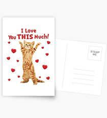 I Love You This Much Happy Kitten Cat Hearts Postcards