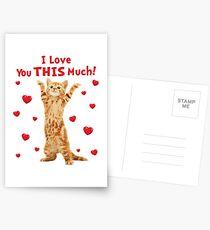 Ich liebe dich dieses viel glückliche Kätzchen Cat Hearts Postkarten