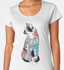 Katze in Lotus Tattoo Premium Rundhals-Shirt