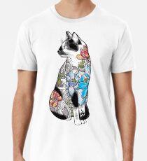 Katze in Lotus Tattoo Männer Premium T-Shirts