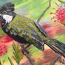 Whip Bird in Grevillea by Wendy Sinclair