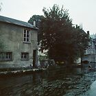 L'Eure & Pont St Hilaire and houses on bank Chartres France 19840825 0045  by Fred Mitchell