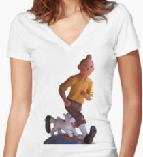 Tintin Women's Fitted V-Neck T-Shirt