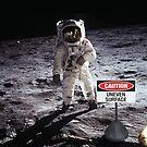 Caution uneven surface sign on the moon by monsterplanet