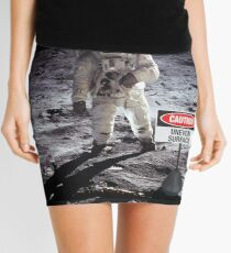 Caution uneven surface sign on the moon Mini Skirt