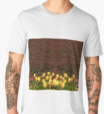 Yellow Tulip Flowers with contrast red tulip background Men's Premium T-Shirt