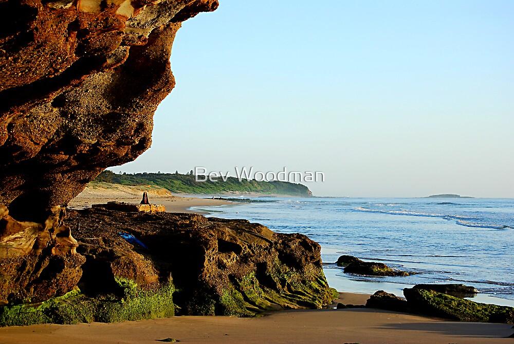 Peeking Outside the Cave - Caves Beach by Bev Woodman
