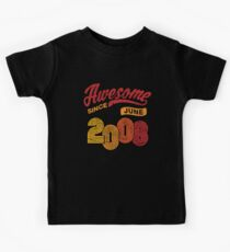 Awesome Since June 2008 Shirt Vintage 10th Birthday Kids Tee