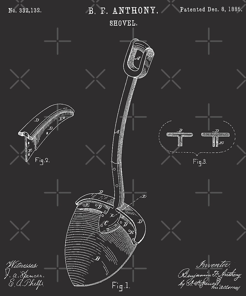 Original Shovel 1885 Patent Vintage Retro Graphic Tee by DesIndie