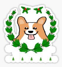 Cute Christmas Corgi Wreath Holiday T-Shirt Sticker