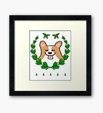 Cute Christmas Corgi Wreath Holiday T-Shirt Framed Print