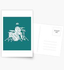 Jazz Drummer Grunge Style Postcards