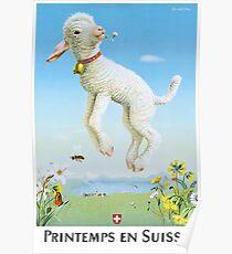 1945 Spring In Switzerland Travel Poster Poster