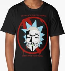 Rick for Vendetta - Rick and Morty and V for Vendetta Crossover Long T-Shirt