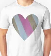 Wood Grain Heart for St Valentine's Day Slim Fit T-Shirt