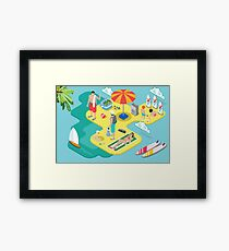 Isometric Beach Life - Summer Holidays Concept  Framed Print