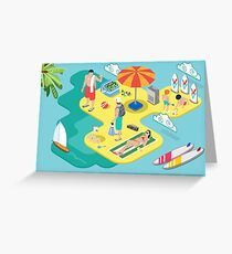 Isometric Beach Life - Summer Holidays Concept  Greeting Card