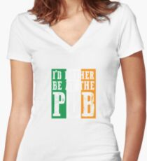 At The Bar gift for Irish People Women's Fitted V-Neck T-Shirt