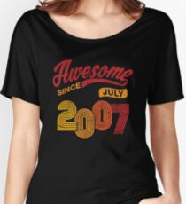 Awesome Since July 2007 Shirt Vintage 11th Birthday Women's Relaxed Fit T-Shirt